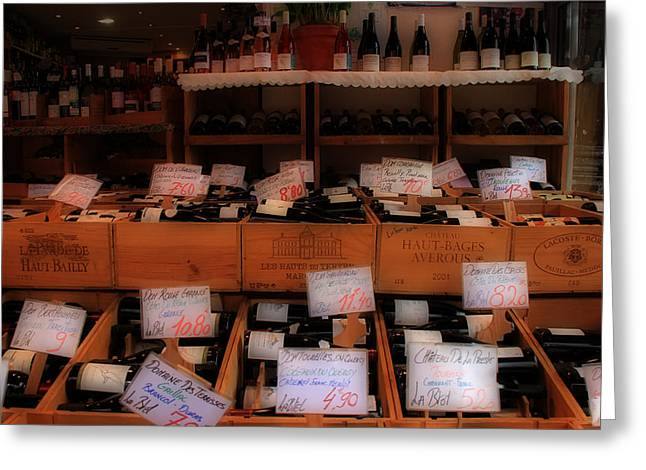 Paris Wine Shop Greeting Card by Andrew Fare