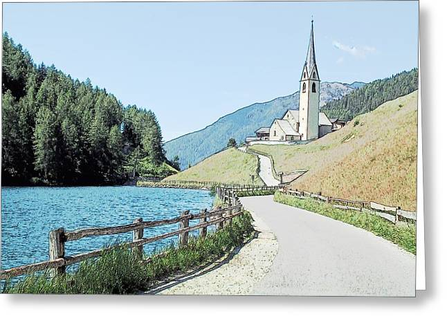 Parish Church St Nicholas Valdurna Italy Greeting Card by Joseph Hendrix