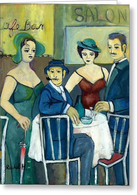 Parisian Cafe Scene In Blue Green And Brown Greeting Card
