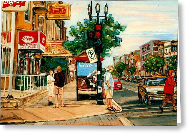 Park Avenue And Bernard Montreal City Scene Greeting Card by Carole Spandau