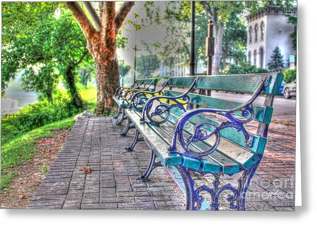 Park Bench On Riverside Drive Greeting Card