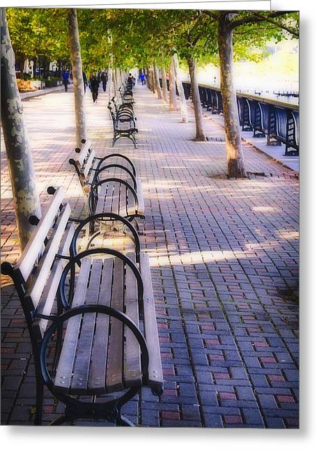 Park Benches In Hoboken Greeting Card by George Oze