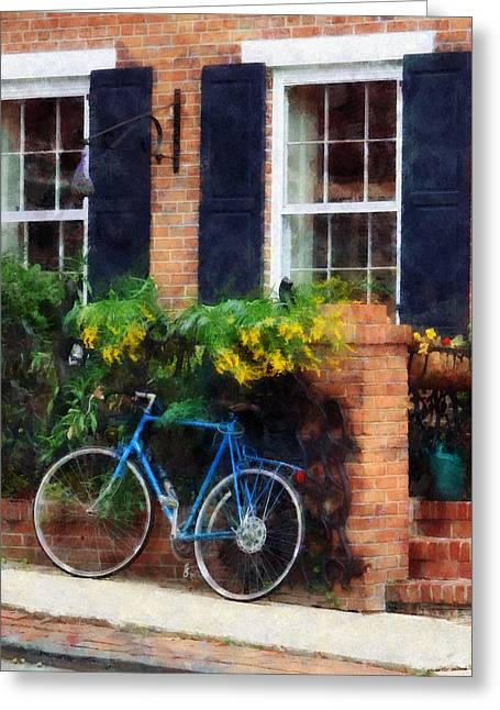 Parked Bicycle Greeting Card by Susan Savad