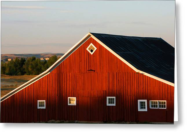 Greeting Card featuring the digital art Parker Road Barn by Brian Davis