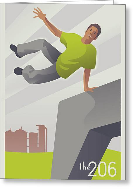 Parkour At Gasworks Park Seattle Greeting Card