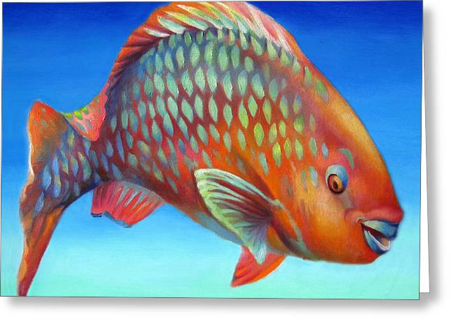 Parrot Fish Greeting Card by Nancy Tilles