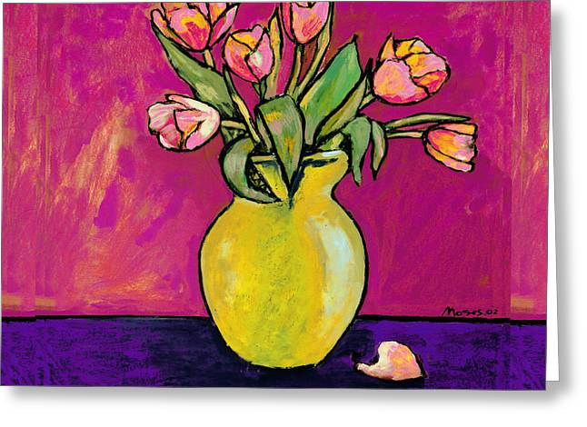 Parrot Tulips In A Yellow Vase Greeting Card