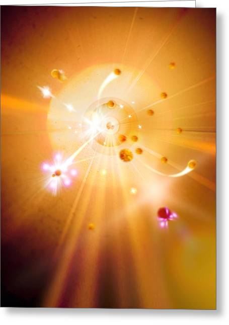 Particle Collision Greeting Card by Richard Kail