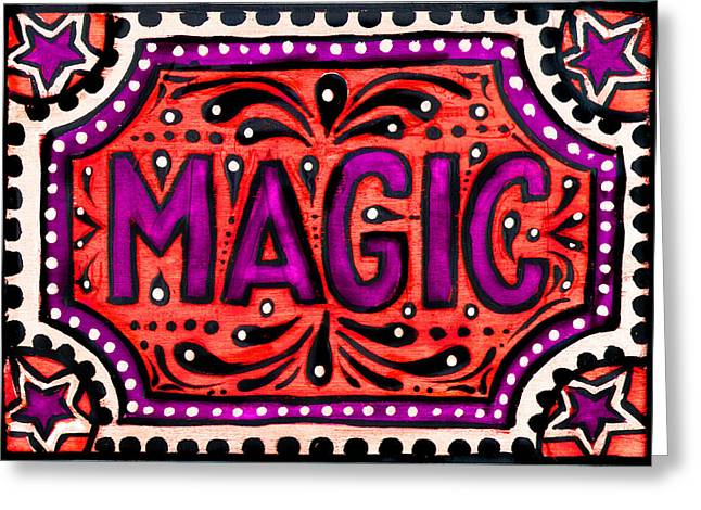 Greeting Card featuring the painting Party Magic  by Nada Meeks