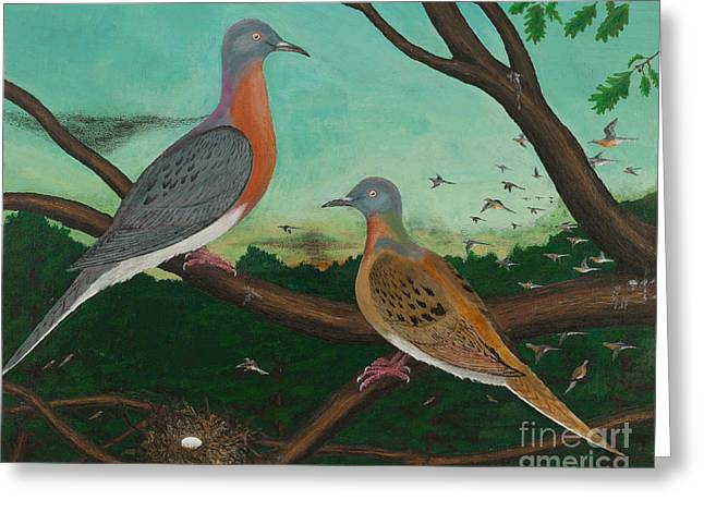 Passenger Pigeon Evening Flight Greeting Card
