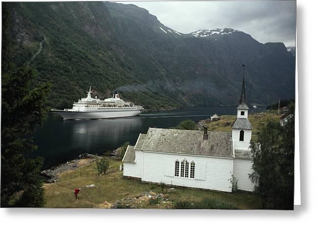 Passenger Ship Cruising The Fjords Greeting Card