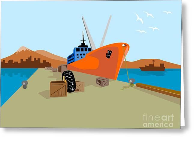 Passenger Ship Ferry Boat Anchor Retro Greeting Card by Aloysius Patrimonio