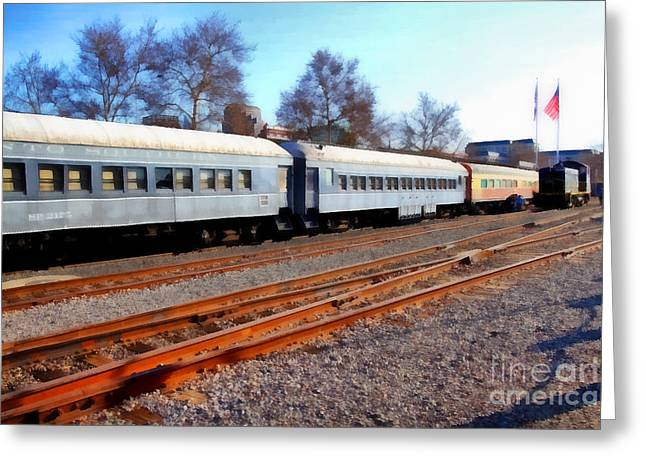 Passenger Trains At The Old Sacramento Train Depot . 7d11623 Greeting Card by Wingsdomain Art and Photography