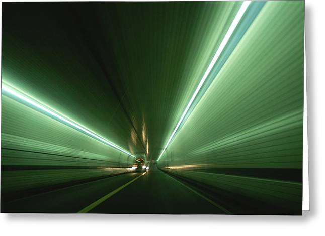 Passing At High Speed Through Tunnel Greeting Card