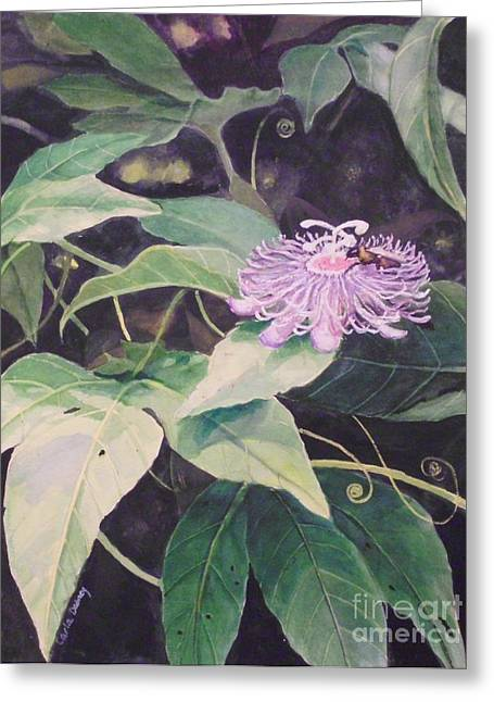 Passion Flower Greeting Card by Carla Dabney