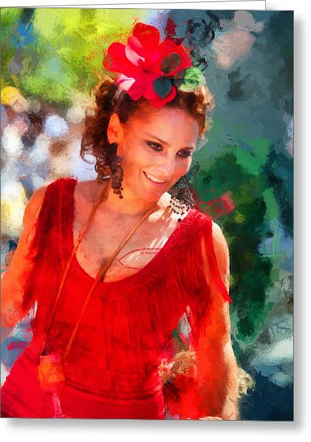 Passionate Gypsy Blood. Flamenco Dance Greeting Card by Jenny Rainbow