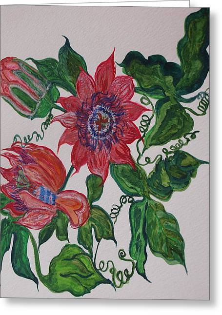 Passionflower Greeting Cards - Passyflor Greeting Card by Joy Sparks