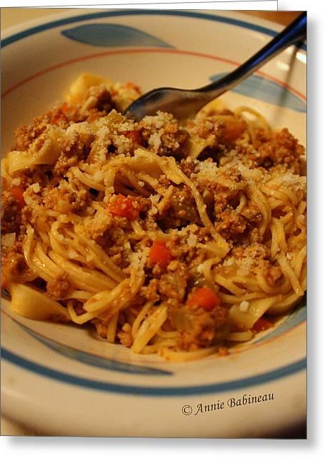 Pasta Alla Ragu Bolognese Greeting Card by Anne Babineau