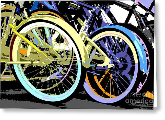 Pastel Bicycle Pop Art Greeting Card by ArtyZen Studios