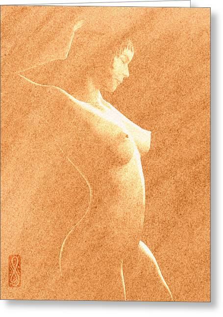 Pastel Chiaroscuro Nude Greeting Card by Hakon Soreide