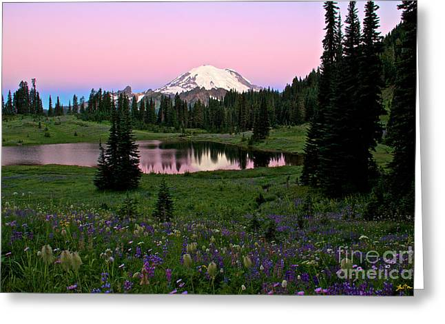 Pastel Skies Over Rainier Greeting Card by Marcus Angeline