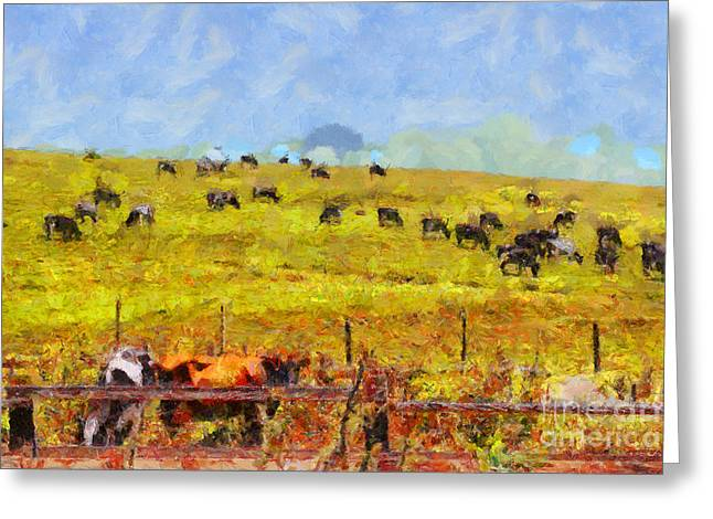 Pastoral Landscape Painterly . 7d15962 Greeting Card by Wingsdomain Art and Photography