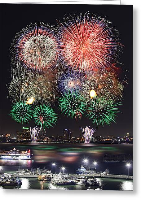 Pataya City Firework Festival Greeting Card by Anek Suwannaphoom