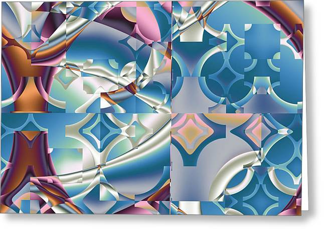 Greeting Card featuring the digital art Patchwork Abstract by Mario Carini