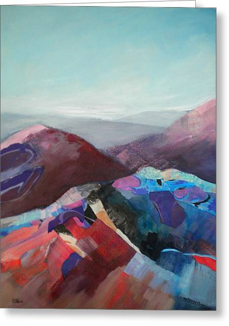 Patchwork Mountain Greeting Card by Sally Bullers