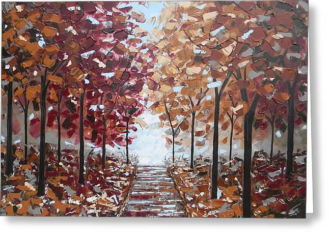 Path Through The Autumn Trees Greeting Card