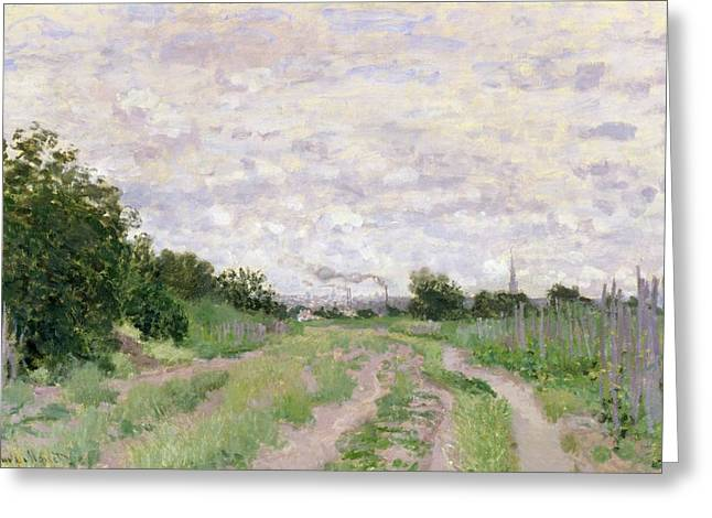 Path Through The Vines At Argenteuil Greeting Card by Claude Monet