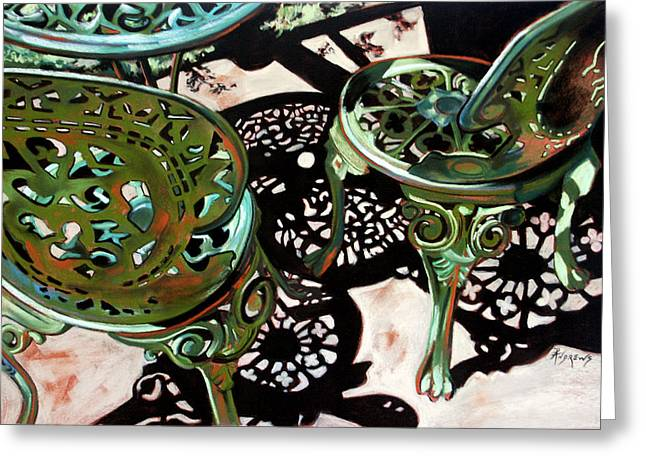 Greeting Card featuring the painting Patio Lace by Rae Andrews