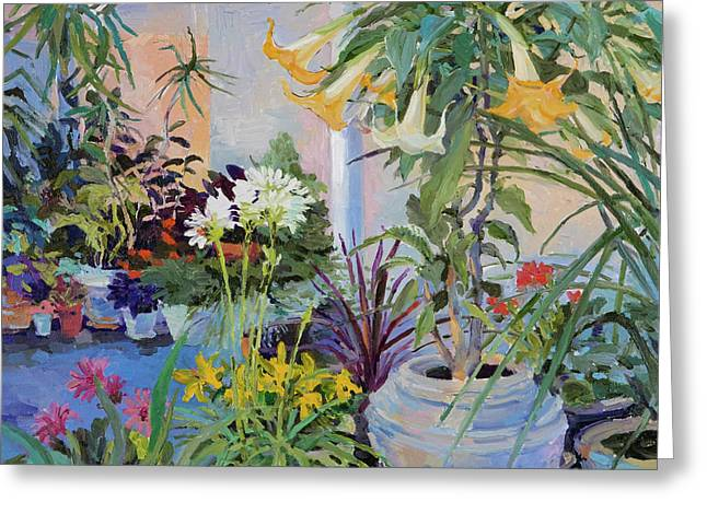 Patio With Flowers Greeting Card