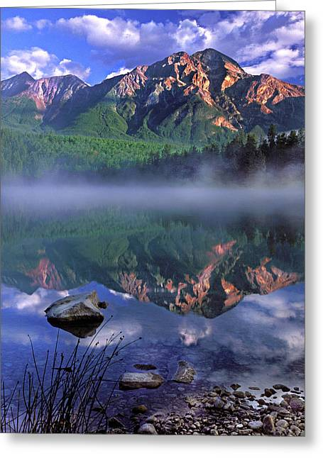 Patricia Lake Banff Canada Greeting Card by Dave Mills