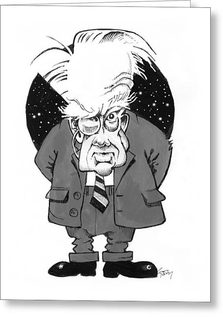 Patrick Moore, British Astronomer Greeting Card by Gary Brown