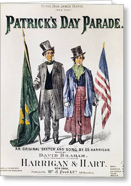 Patricks Day: Music, 1873 Greeting Card by Granger