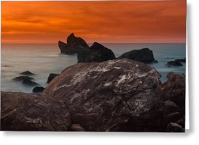 Patrick's Point Dusk Panorama Greeting Card by Greg Nyquist