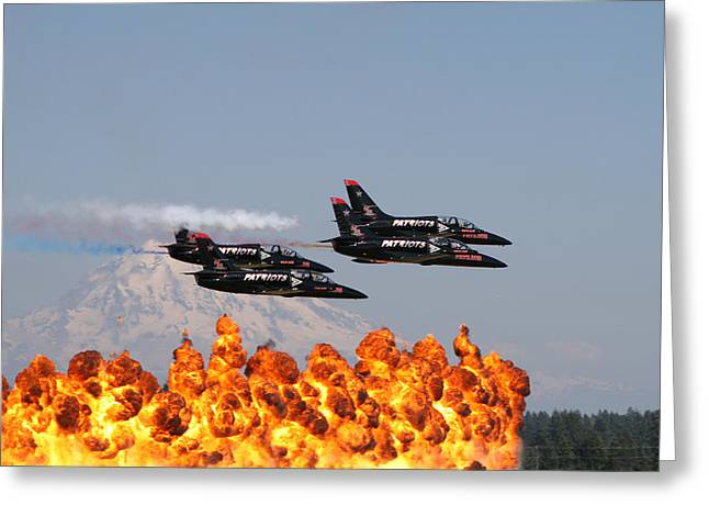 Patriot Flyby Greeting Card by David Zinkand