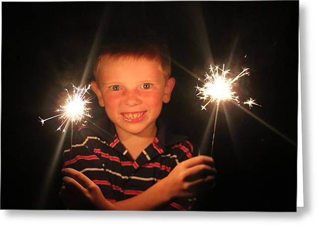 Greeting Card featuring the photograph Patriotic Boy by Kelly Hazel