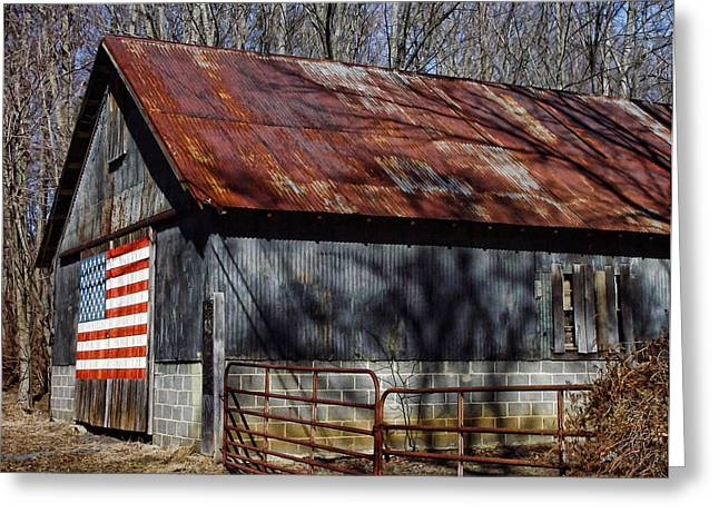Greeting Card featuring the photograph Patriotic Country Barn by Sami Martin