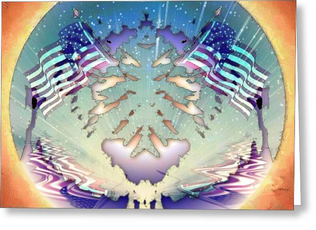Greeting Card featuring the painting Patriotic Reflections by Mario Carini