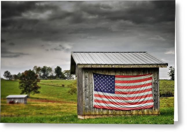Patriotic Shed Greeting Card by Kathy Jennings