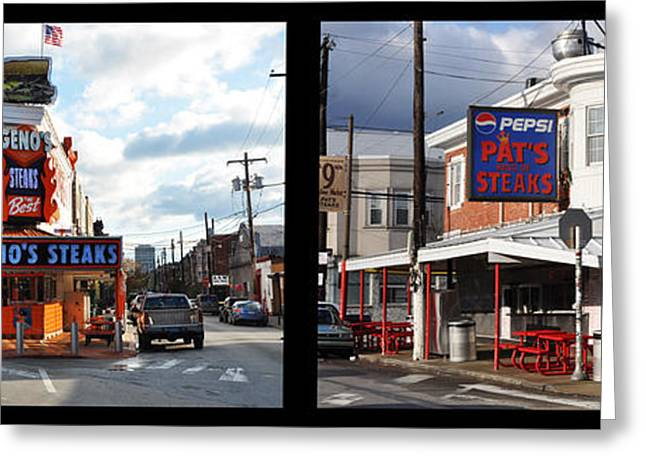 Pats Vs Genos South Philly Cheese Steaks  Greeting Card by Bill Cannon