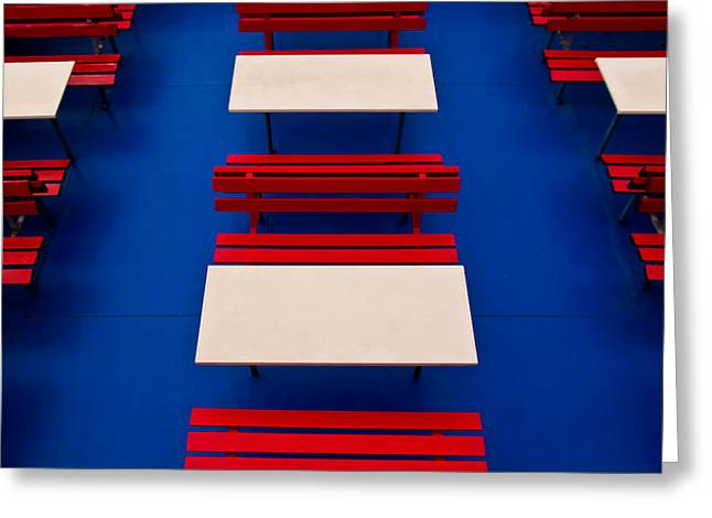 Greeting Card featuring the photograph Patterned Benches by Justin Albrecht