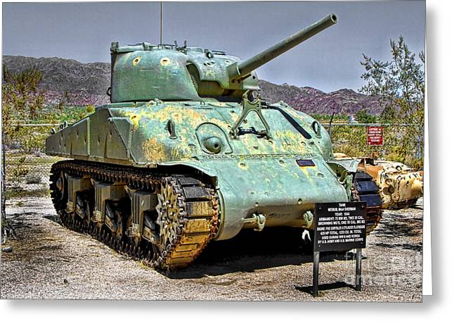 Patton M4 Sherman Greeting Card by Jason Abando