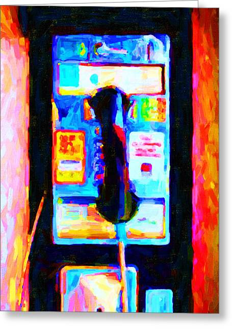 Pay Phone . V2 Greeting Card by Wingsdomain Art and Photography