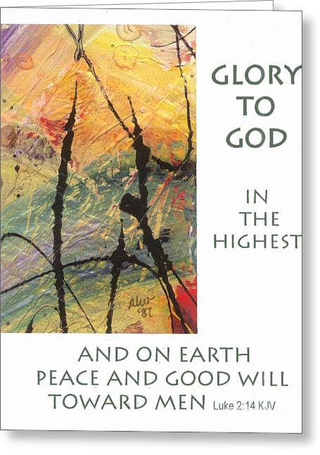 Peace And Goodwill Toward Men Greeting Card by Angela L Walker