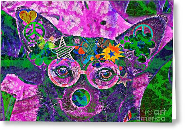 Peace And Love Chihuahua Greeting Card by Kevin Moore