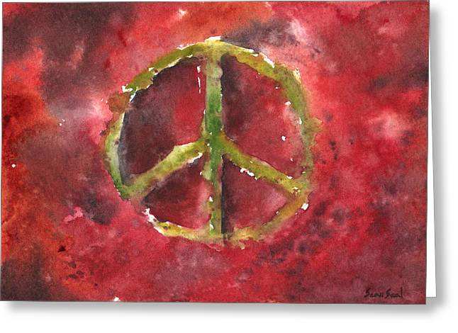 Peace Sign 61-12 Greeting Card by Sean Seal