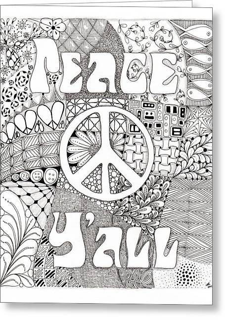 Peace Y'all Greeting Card by Paula Dickerhoff